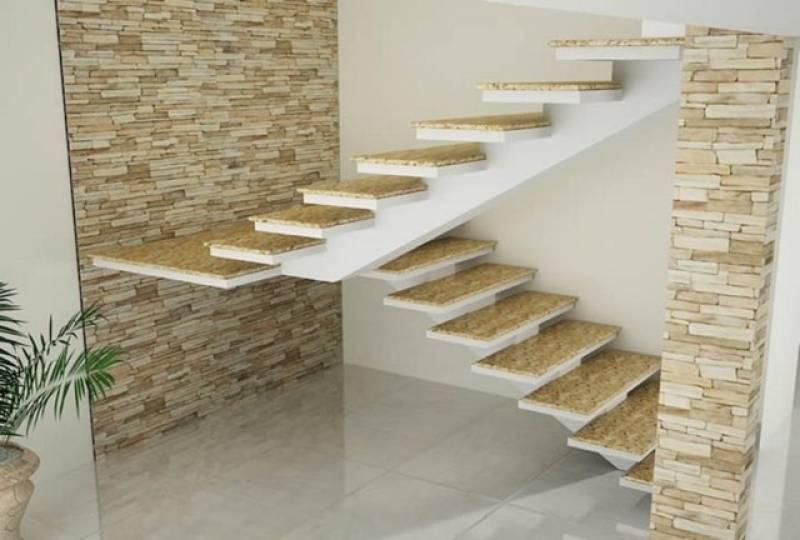 Escadas de Mármore em L Santana - Escada de Granito Travertino