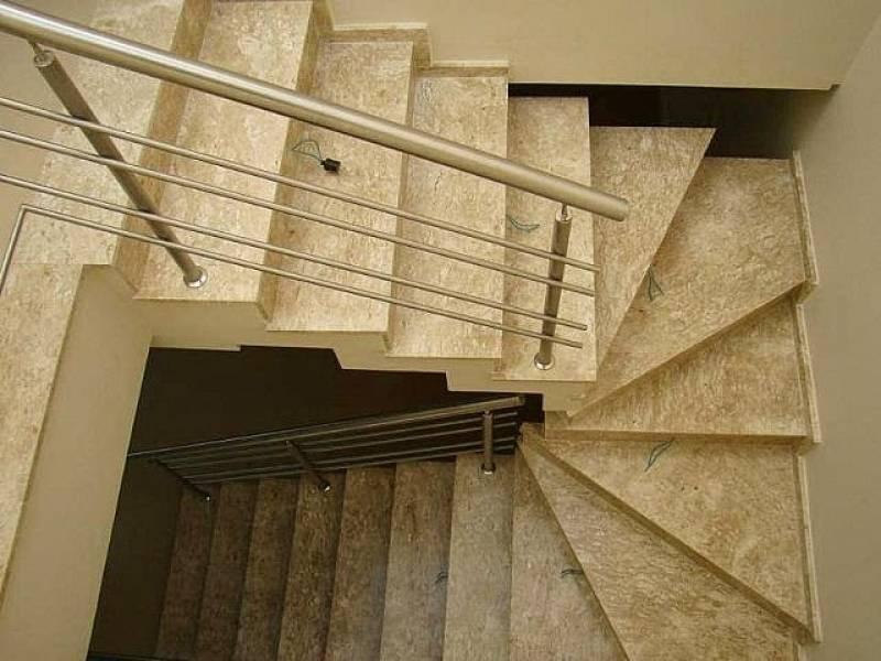 Instalação de Escada de Granito Travertino Lauzane Paulista - Escada de Mármore Branco